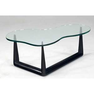 Th robsjohngibbings  widdicomb coffee table with amoebashaped glass top on ebonized wood base 18 12 x 49 x 30