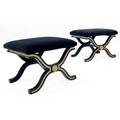 Dorothy draper pair of neoempire stools with black velvet cushions on lacquered and gilded bases 18 12 x 24 12 x 19 12