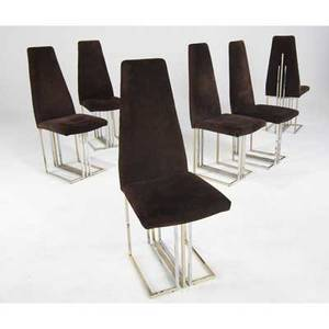 Modern set of six dining chairs covered in brown suede on brass and chromed steel bases 43 x 16 12 x 18 12