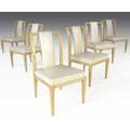 Tommi parzinger set of six bleached mahogany dining chairs with ivory leather upholstery 35 x 19 12 x 20 12