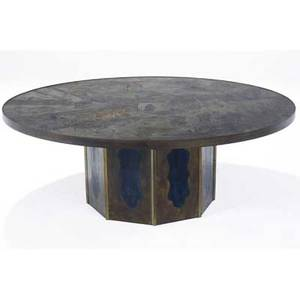 Phillip and kelvin laverne patinated bronze chan coffee table engraved with an asian courtyard scene over a faceted base signed philip kelvin laverne 17 34 x 47 12