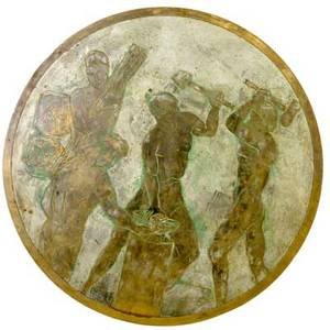 Philip and kelvin laverne circular acidetched and patinated metal plaque depicting four male figures in a classical setting signed philip kelvin laverne also has philip laverne collection paper lab