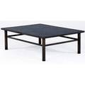 Philip and kelvin laverne patinated bronze coffee table with figural engraving signed philip k laverne 16 x 48 x 36