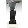 Richard hirsch threepiece ceramic sculpture covered in black and gunmetal glaze 1992 signed and dated pottery only 54 x 32 12
