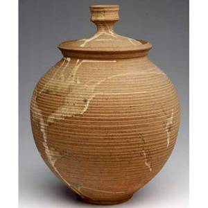 Heino large stoneware covered jar 1968 unsigned but accompanied by authentication note from otto heino 16 x 12 dia