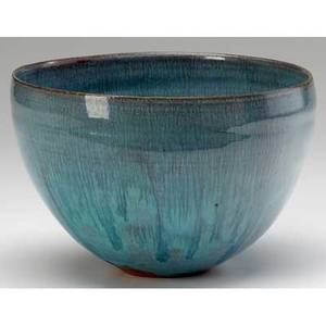 Beatrice wood earthenware bowl covered in turquoise and lavender glazes signed beato 4 34 x 7 14