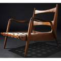 Phillip lloyd powell walnut new hope chair with woven seat support and olive green velvet cushions not shown 28 x 29 12 x 31