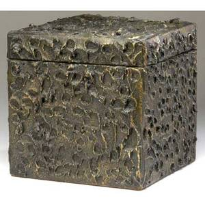 Paul evans sculpted bronze lidded box covered in circular designs from the collection of dorsey reading 10 14 cu