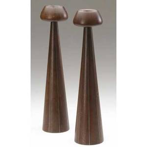 Paul evans  phillip lloyd powell pair of walnut candlesticks with pewter inlay from the collection of dorsey reading 13 12 x 3