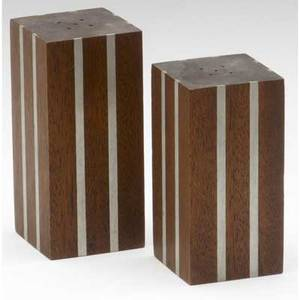 Paul evans  phillip lloyd powell pair of walnut rectangular salt and pepper shakers with pewter inlay from the collection of dorsey reading these were original sample models and have never been us