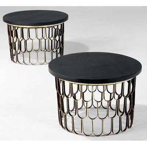 Paul evans pair of gilded loop base end tables with natural cleft slate tops with cleafed edges from the collection of dorsey reading 16 x 24 dia