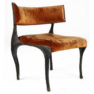 Paul evans sculpted bronze chair with orange crushed velvet upholstery from the collection of dorsey reading 31 34 x 28 34 x 24 34