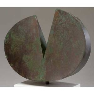 Paul evans rare pie sculpture in etched verdigris copper mounted on white laminate base from the collection of dorsey reading sculpture only 13 x 16 x 4 12