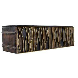 Paul evans wavy front wallhung cabinet patinated in vivid coloration with natural cleft slate top 1966 signed paul evans 1966 d c 21 x 72 x 22 12 from the collection of dorsey reading thi