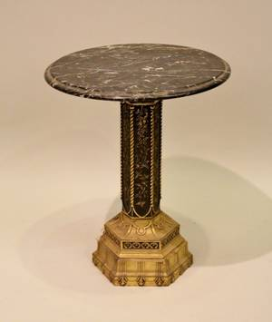 Small Marble Top Stand with Brass Base