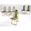 Art deco set of six folding chairs with stenciled oilcloth cushions on orange enameled steel frames 34 x 15 x 23