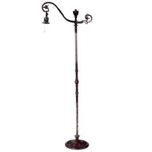 Oscar bach cast bronze floor lamp with owl finial and animal grotesques signed the oscar studio 61 h
