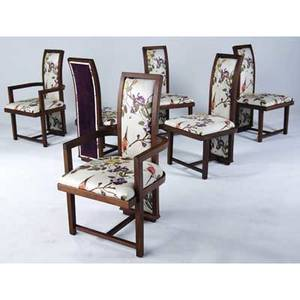 Frank lloyd wright  henredon set of six mahogany dining chairs two arm and four side upholstered in silk arm 40 x 22 x 21 14 side 40 x 20 x 21