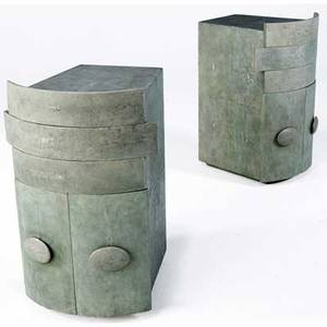 R  y augousti pair of shagreen nightstands each with two drawers over a twodoor cabinet each 29 x 19 x 95