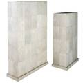 R  y augousti two natural pigment shagreen pedestals 44 x 26 x 14 and 52 14 x 35 x 12