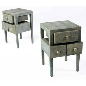 R  y augousti pair of shagreen threedrawer end tables 24 12 x 17 x 15 34
