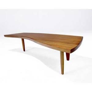 George nakashima  widdicomb coffee table with freeform top in sundra finish marked widdicomb 126200 sundra 13 x 66 x 24 12