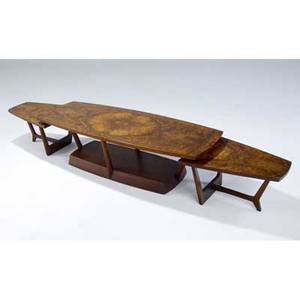 George nakashima  widdicomb exceptional coffee table with bookmatched burlwood veneer top on walnut base en suite with a pair of end tables stamped marks coffee table 14 12 x 54 x 20 each e