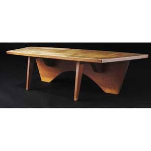 George nakashima very early and rare walnut coffee table with trapezoidal top on shaped mortised plank back and two front legs provenance available 14 14 x 57 34 x 20