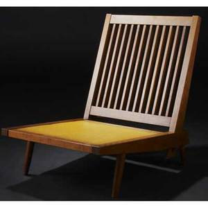 George nakashima walnut cushion chair with tweed cushions shown online 30 12 x 23 34 x 31
