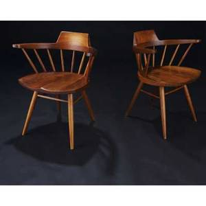 George nakashima pair of walnut arm chairs provenance available 28 12 x 25 x 17 12
