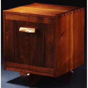 George nakashima walnut kornblut case with burlwood pull and single interior shelf provenance available 22 x 19 x 19