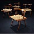 George nakashima set of four walnut grassseated chairs en suite with preceding 1986 provenance available signed and dated 27 12 x 24 12 x 19 12