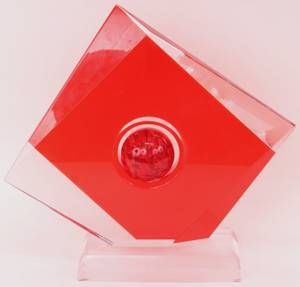 SHLOMI HAZIZA Red Geometric Acrylic Sculpture