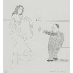 David hockney british b 1937 pleading for the child illustration for grimms fairy tales 1969 etching framed signed and numbered 87100 24 12 x 17 34 sheet printer print shop amst