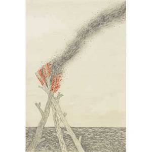 Benjamin degen american b 1976 signal 2004 graphite and colored pencil on paper framed 9 x 6 sheet provenance guild  greyshkul new york label on verso private collection new york