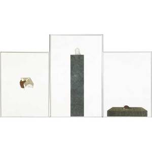 Mauro piva brazilian b 1977 three works of art untitled man in square box 2001 watercolor ink color pencil and graphite on paper framed 12 x 9 sheet untitled man in green column
