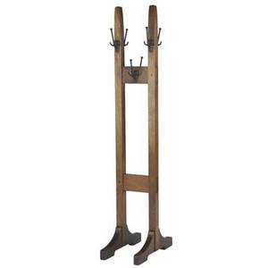 Gustav stickley double costumer no 53 with six patinated iron hooks unmarked 72 x 13 x 22