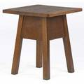 Gustav stickley tabouret with square overhanging top on a broad apron red decal and paper label 20 x 17 34 sq
