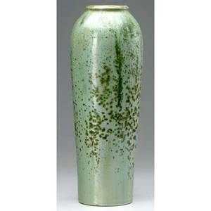 Fulper tall ovoid vase covered in cucumber crystalline glaze plugged drill hole to base raised racetrack mark 16 x 6