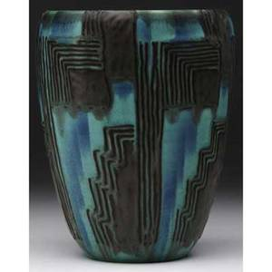 Rookwood later matmat moderne flaring vase by wilhelmine rehm with geometric pattern in green blue and brown 1931 flame markxxxi6181dwr 7 x 5 12