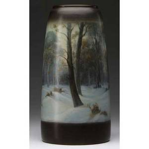 Rookwood scenic vellum vase painted by frederick rothenbusch with a banded winter landscape 1915 flame markxv1654cvfr 12 x 6