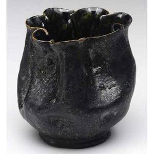 George ohr vase with pinched rim covered in a heavily textured gunmetal glaze no visible mark 3 12 x 4