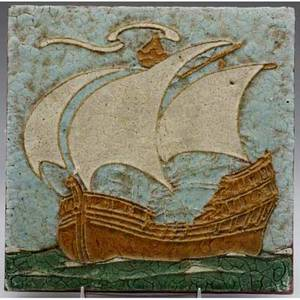Grueby tile decorated in cuenca with a tall ship in mustard and ivory against a blue sky and green waves minor nick to one corner impressed 82 8 sq