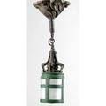 Handel hanging wall sconce of cast bronze with a stylized cylindrical chipped ice lantern in green and frosted glass unmarked 14 x 10