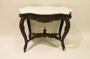 Victorian Carved Turtle Top Parlor Table