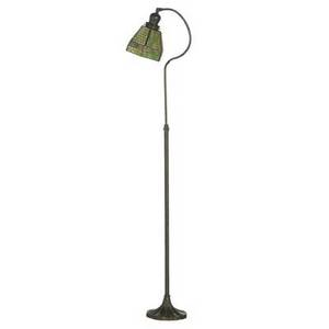 Handel floor lamp with adjustable base the shade with leaded glass panels in green and pink 56 x 10