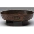 Harry dixon footed copper bowl with geometric designs around the exterior stamped marks 3 34 x 11 dia