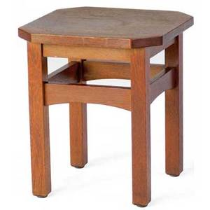 L and jg stickley tabouret no 560 with cut corners and curved stretchers handcraft decal 18 12 x 16