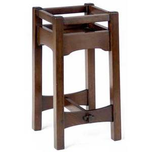 Gustav stickley early plant stand variation of no 48 with cloudlift aprons with inset chestnut top ca 1902 red decal 26 x 13 sq