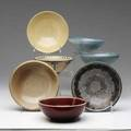 Marblehead  arthur baggs  ohio state seven bowls in various glazes from the collection of arthur baggs daughter mary trowbridge baggs tweet of tolland connecticut two cracked two with chips